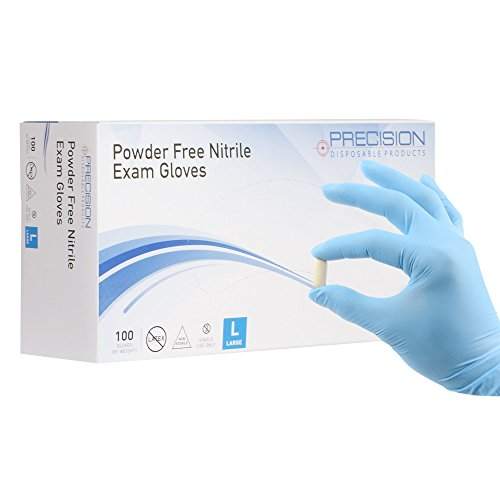 Nitrile Exam Gloves by Precision Disposables   Blue 4 mil Thickness, Powder-Free, Non-Latex, Fingertip-Textured, Medical Grade, Food Safe Examination Gloves (100, Large)