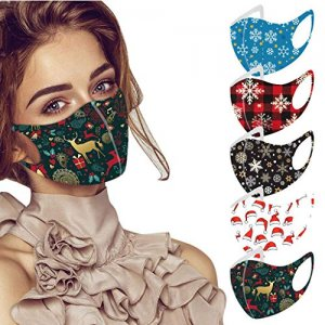 Kaideny Reusable Adults Christmas Face Masks 5pc